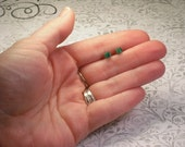 Vintage Really Tiny Malachite Green Square Stud Earrings