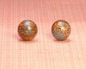 Vintage Goldstone and Blue Round Stud Earrings