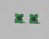 Vintage Green Apple Glass Flower Stud Earrings