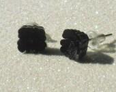 Vintage Dark Aubergine Flower Stud Earrings