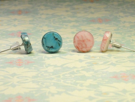 Vintage Turquoise and Rose Quartz Stone Disc Stud Earrings-Your Choice of One Pair
