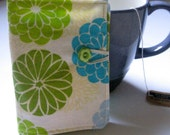 Tea Wallet, Card and ID Wallet, Gift Card Holder - Green and Tea Florals
