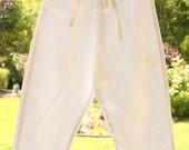 White Linen Pant, Boys Size 2T, Nautical, Resort Wear, Play Wear, Summer Lightweight Pant, Drawstring at Waist, Blue Trim