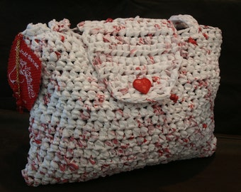 Red & White Recycled Plastic Bags Purse by My Spirit Horse Designs