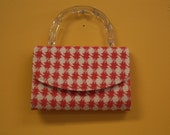 RESERVED FOR BRENDA Vintage Purse Envelope Clutch Lucite Handle Gold Chain Orange White Houndstooth