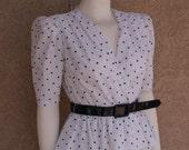 Vintage Dress White Black Polka Dot Peplum Patent Belt