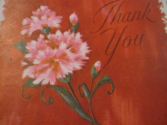 Vintage Thank You Note Cards With Pink Carnations - Set of 6