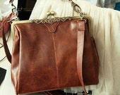 SALE 20% - Vintage Romantic Brown Bag - synthetic pu Leather Purse shoulder Bag