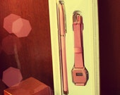 Pink Vintage Retro Leather 80's watch with Pen