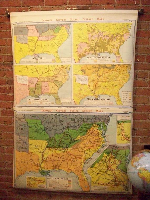 Abolition, Reconstruction & Civil War Vintage Wall Map