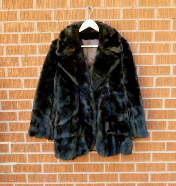 Vintage Faux Mink Fur Coat Freiss 1960's Dark Brown Medium