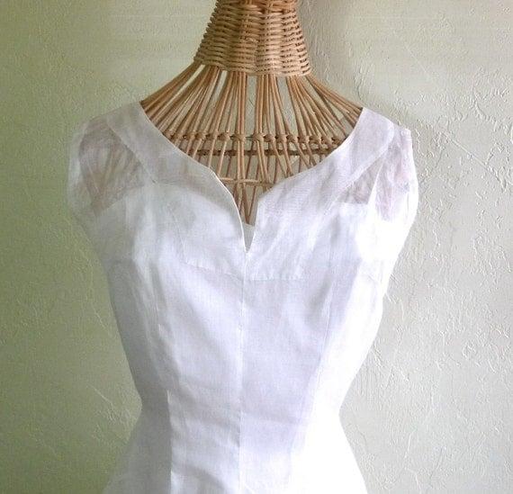 Vintage 1950's Wedding Dress Sheer White Tea Length Small