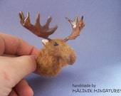 Moose Head Wall Mount Miniature - OOAK Furry Sculpture