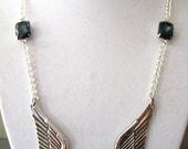 Angel Wing Necklace with Swarovski Crystal Montana Blue Rhinestone