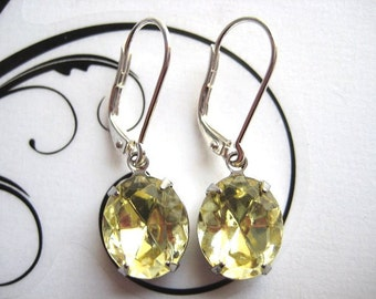 Swarovski Crystal Earrings Leverback Interchangeable Earwire Choice of Color Rhinestones