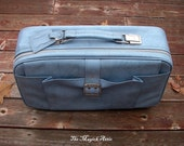 Something Blue - Spring Break - VINTAGE - Powder Blue - 1970s Samsonite Soft Suitcase / Luggage - Honeymoon