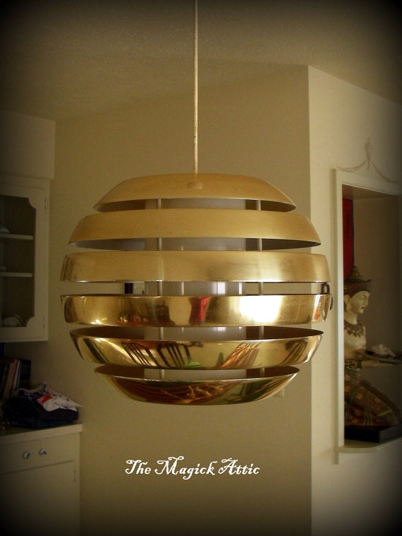 Gold Ball Wall Lights : Vintage 1970s gold ball light fixture