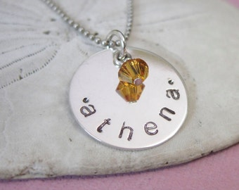 Baby Name Necklace - Mommy Necklace - Hand Stamped Necklace - Custom Jewelry