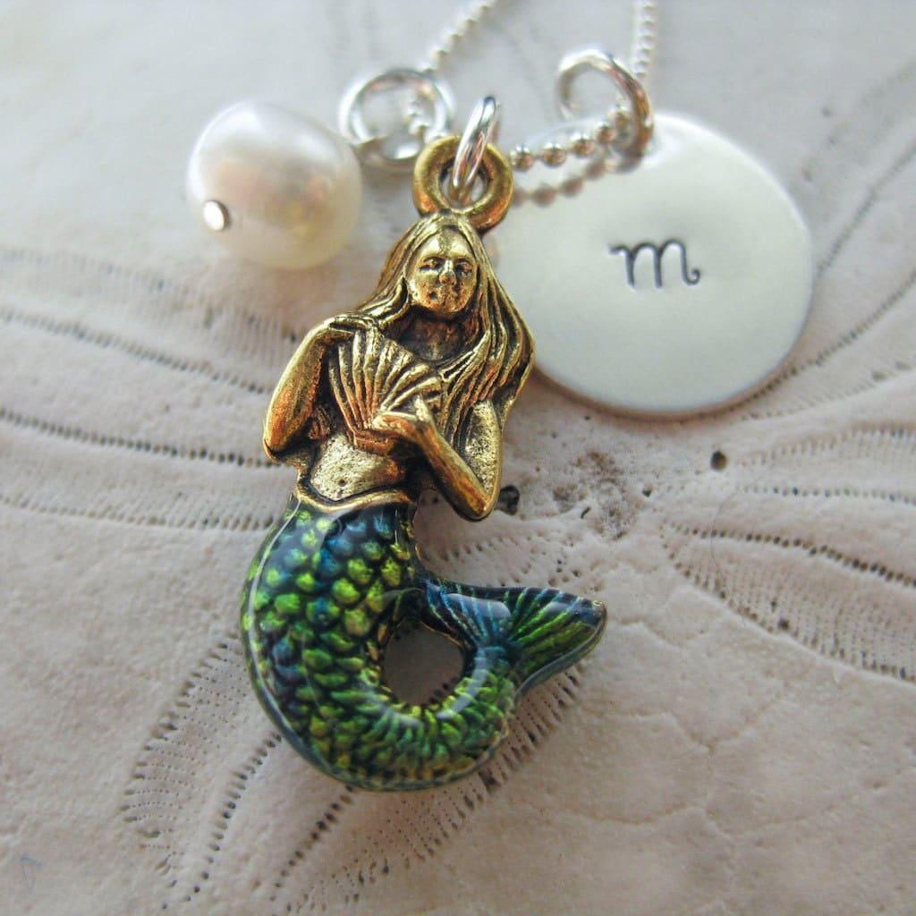 Mermaid Necklace Mermaid Charm Necklace By Wanderingtulip