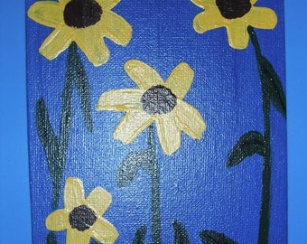 Sunflowers on Blue acrylics on canvas 5x7