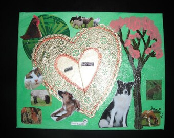 SALE / Animal Lover Collage mixed media on canvas /Collage / Artwork / animals