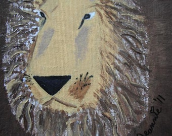 King of the Jungle lion head acrylic painting on stretched canvas