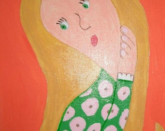 Pondering Blonde acrylic painting on 8x10 stretched canvas