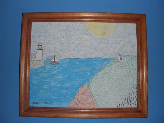 Two Cats on Prince Edward Island / Mixed Media / Original Art / 8x10 canvas panel