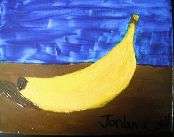 Banana Still Life acrylic painting on canvas Maine teen artist