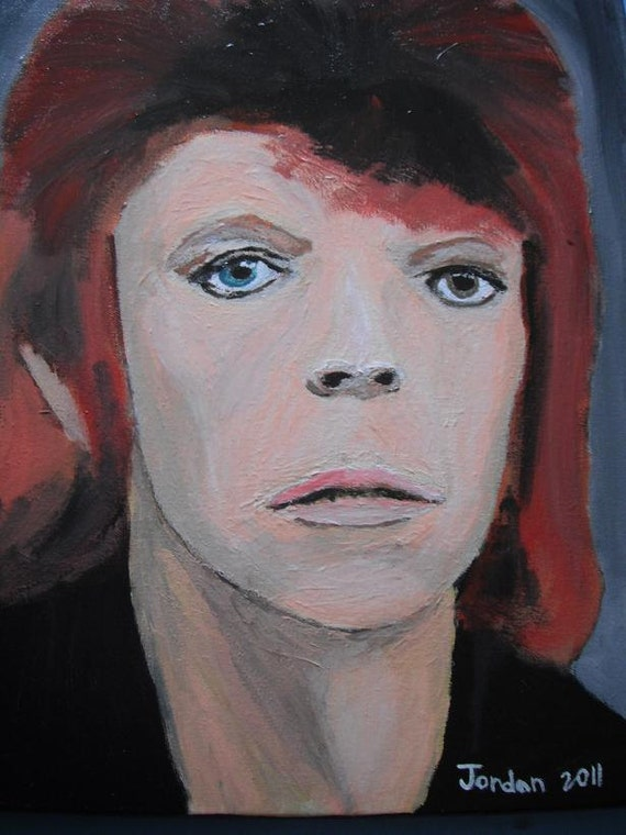 David Bowie Early Years / portrait  painting / 16x20 stretched canvas