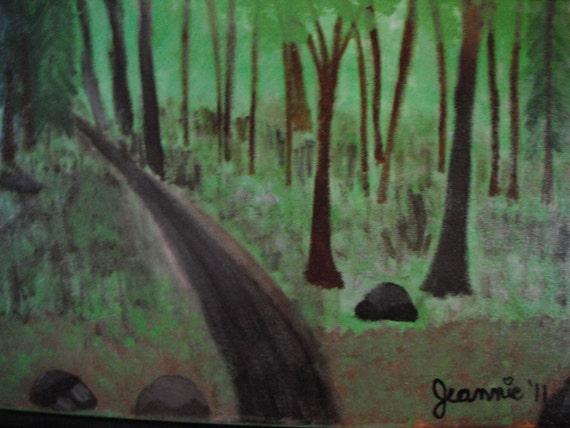 The Road Less Traveled original acrylic landscape painting