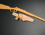 Hand made wooden western gun set with leather holster.
