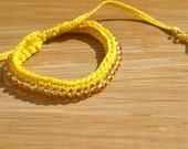 Beaded Friendship Bracelet, Solar Power and Gold - Ready to Ship