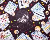 Bingo Chance Game Caller Black Cotton Fabric Fat Quarter or Custom Listing
