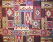 Native American Navajo Green Blue Cranberry Purple Blocked Cotton Fabric Fat Quarter or Custom Listing