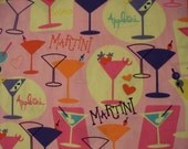 Martini Cocktail Glasses Mad Men Pink Cotton Fabric FQ or Custom Listing