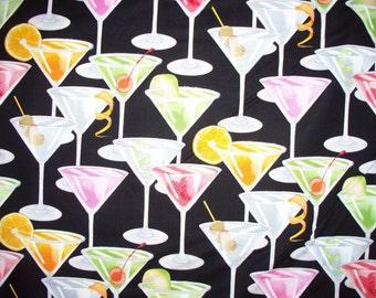 Martini Glass Cocktails Glasses Glitter Cotton Fabric Fat Quarter Or Custom Listing
