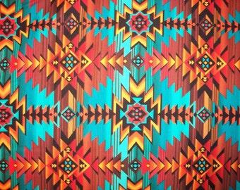 Navajo Teal Orange Brown Tradional Overall Cotton Fabric Fat Quarter Or Custom Listing