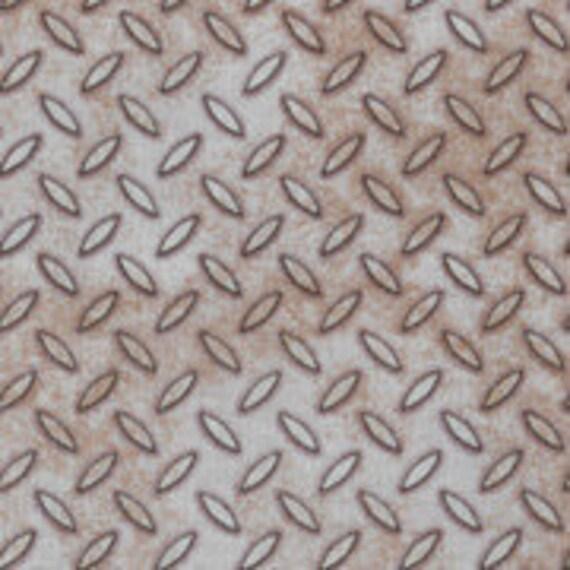 Chrome Diamond Plate Silver Cotton Fabric OOP