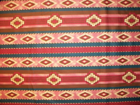 Native America Navajo Pinks Blues Tans Cotton Fabric OOP