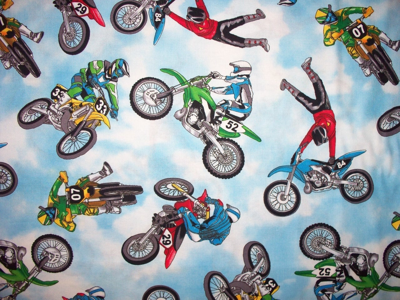 Motocross Motorcycle Racing Bikes Blue Cotton Fabric Fat