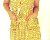 Yellow Patterned Dress With Pockets - SprightlyandCo