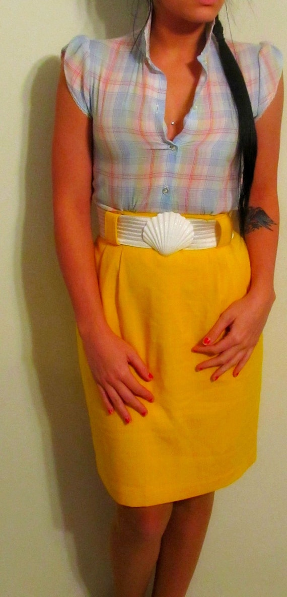 retro yellow high waisted pencil skirt