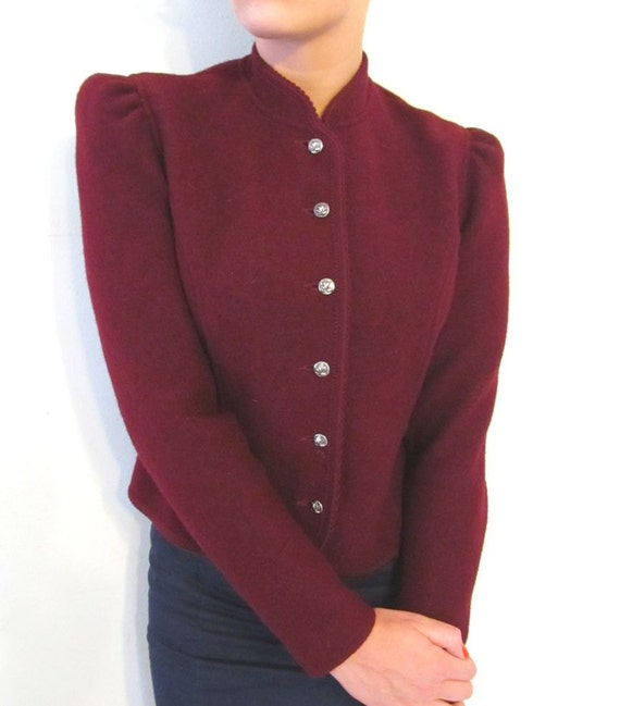Red Wine Victorian Style Pure Wool Jacket