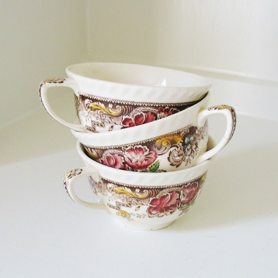 English Brown Transferware Cups
