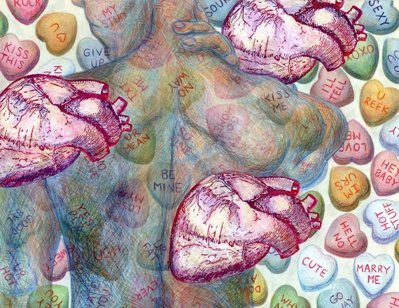 SALE Mixed media collage, anti Valentines Day - love, romantic medical art, candy art