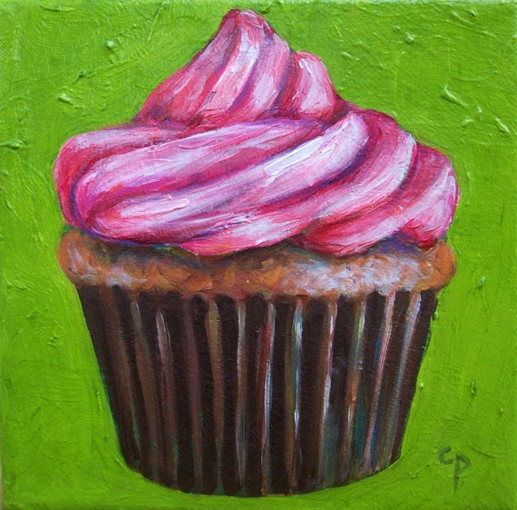 Original oil painting- Sweet cupcake, 6x6 on canvas, ready to hang