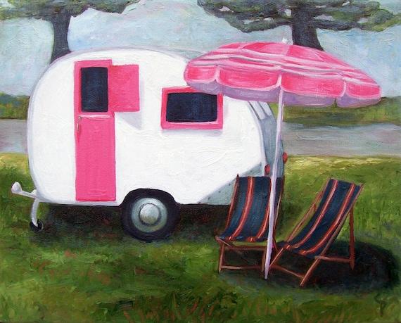 SALE Retro Caravan - original oil painting  - Vintage travel home decor, airstream teardrop trailer