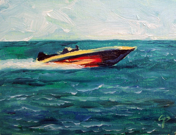 Speed Boat - Mini 4 x 3 oil painting - Framed and ready to hang