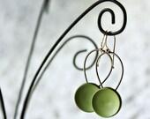 Olive green vintage earrings